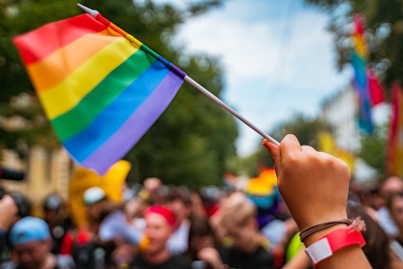 Image of hand holding up a pride flag in the middle of a pride festival. They are a source of lgbtq+ support in west bloomfield, mi. Therapyology offers lgbtq support groups in west bloomfield, mi, lgbt youth groups in west bloomfield, mi, and more.